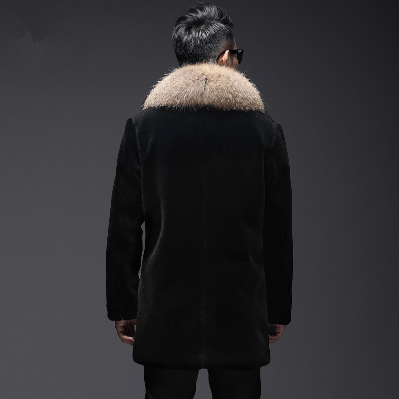 Real Sheep Shearling Fur Coat Winter Jacket Men Raccoon Fur Collar Long Jackets Real Wool Coat L18-5200 MY1458
