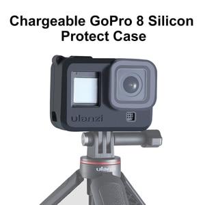 Image 1 - Силиконовый чехол ulanzi для Gopro Hero 8, черный чехол с капюшоном для объектива, мягкий чехол с ремешком на руку, аксессуары для GoPro 8
