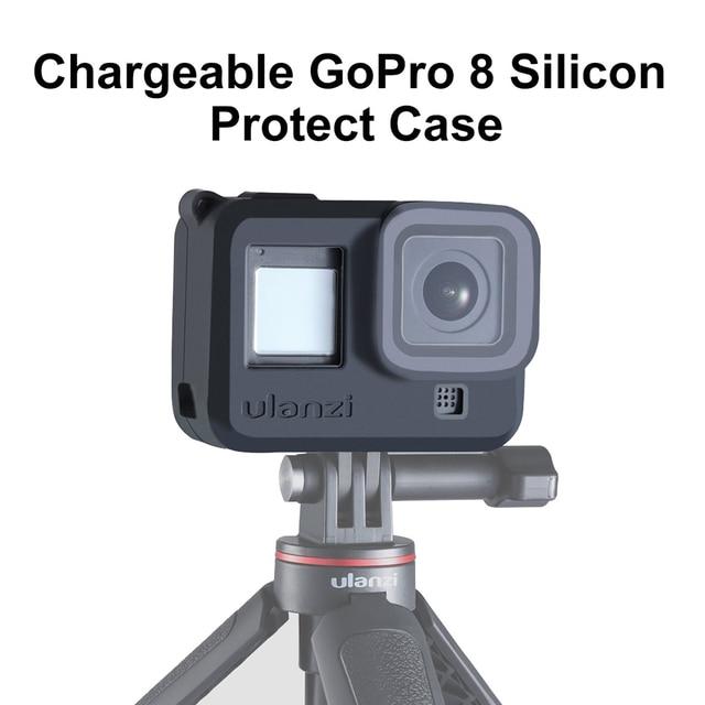 Силиконовый чехол ulanzi для Gopro Hero 8, черный чехол с капюшоном для объектива, мягкий чехол с ремешком на руку, аксессуары для GoPro 8