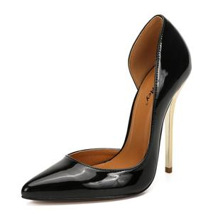 Image 3 - SDTRFT 2019 artı: 40 44 45 46 47 48 49 kırmızı siyah 14cm ince topuklu seksi sandalet süet Stilettos gece kulübü pompaları kadın düğün ayakkabı