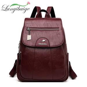 Image 2 - 2020 женские кожаные рюкзаки, высокое качество, Женский винтажный рюкзак для девочек, школьная сумка, дорожная сумка, женский рюкзак