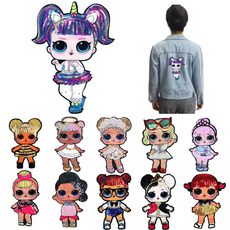 Cartoon Doll Sequin Patches Cute Surprised Girl Sew On DIY Hoodie Clothes LOLS  Stickers High Quality Child Popular Jacket Toy