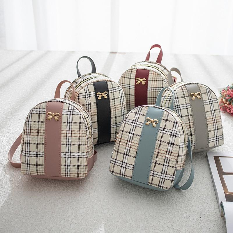 Plaid Mini Backpack Women Panelled Leather Shoulder Crossbody Bag For Teenage Girls Hand Bag Small Female School Bagpack Mochila