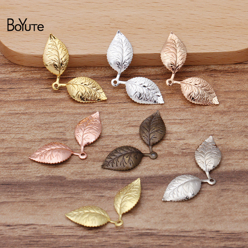 BoYuTe (100 шт./лот) 13*32 мм Металлические латунные штамповочные подвески в виде листьев для самостоятельного изготовления ювелирных изделий мате...