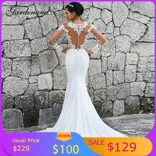 Элегантное свадебное платье русалка кружевное с бисером и аппликацией