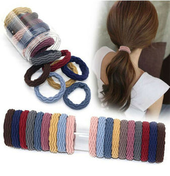 5Pcs Strong Elastic Hair Bands Rubber Rings Hair Ties Band Resilience Seamless Wave Rope for Women Girls Ponytail Holder high resilience seamless hair rope new rubber band hair accessories gum girls women ponytail elastic hair bands headwear