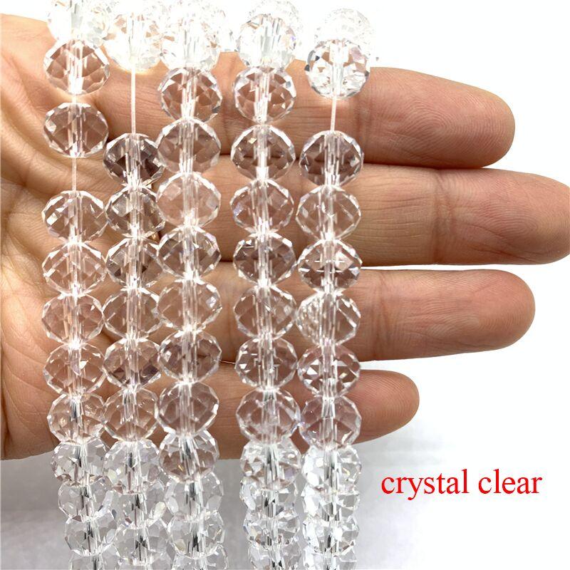 3X4/4X6/6X8/8X10 мм хрустальные бусины Рондель стеклянные бусины граненые хрустальные бусины для изготовления ювелирных изделий Аксессуары перевод Diy - Цвет: Crystal Clear