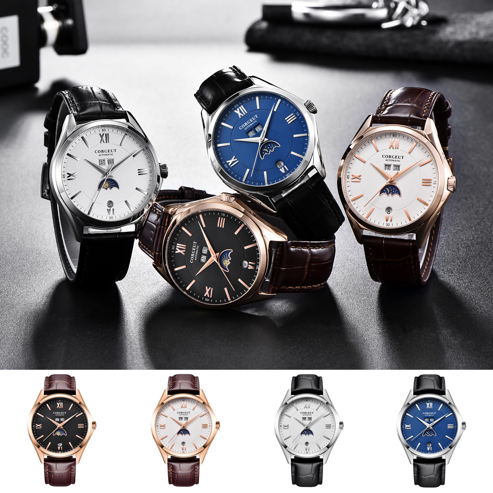 New Corgeut 41MM Moon Phase watch  mens watch fashtion automatic mechanical wristwatches waterproof 316L Stainless steel case