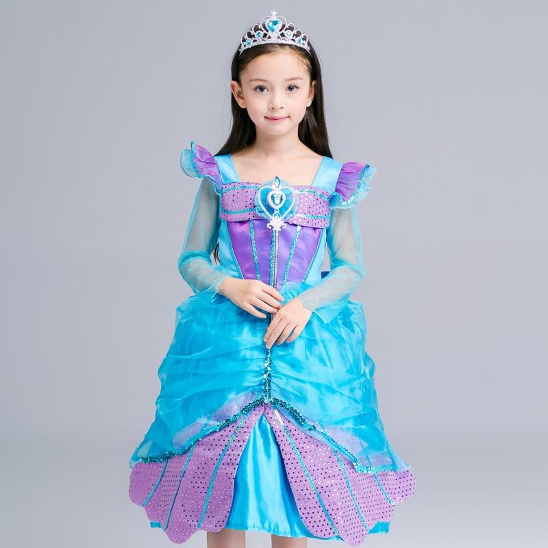Girls Belle Princess Dress Cosplay Party Dress Halloween Costume Sequins Dress
