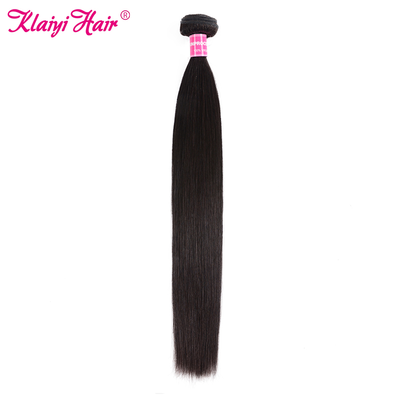 Klaiyi Hair Extensions Brazilian Hair Weave Bundles Human Straight Hair Bundles Natural Black Weave Remy Hair One Piece