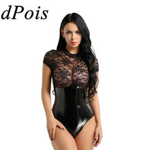 DPOIS Vrouwen Bodysuit Dames Sexy Slim Lingerie Lace Splice Bandage Jumpsuit Rompertjes Kleding See Through Rits Latex Pak(China)