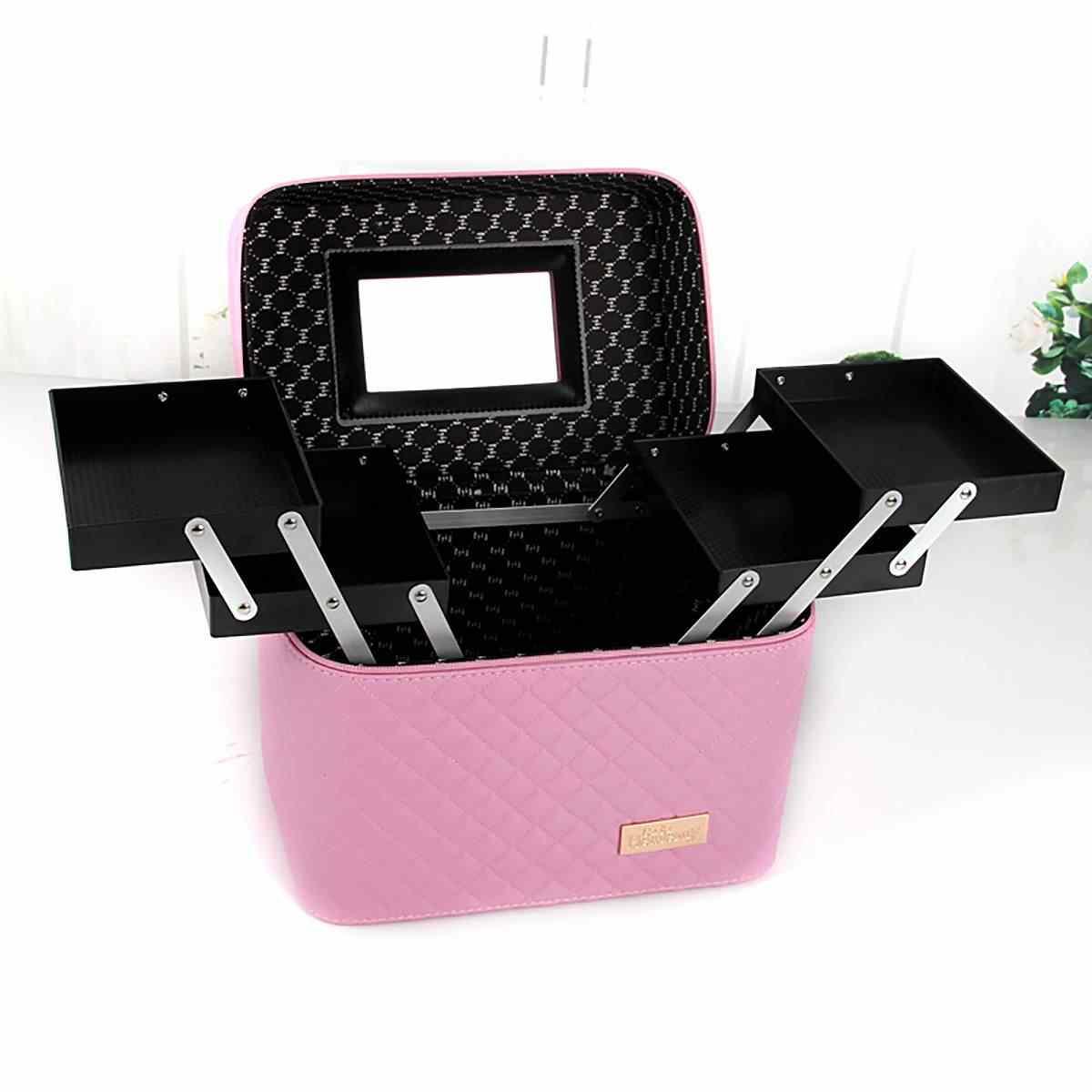 Kadın büyük kapasiteli profesyonel makyaj organizatör moda tuvalet kozmetik çantası çok katmanlı saklama kutusu taşınabilir güzel bavul