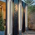 Современная светодиодная Водонепроницаемая уличная длинная настенная лампа IP65, алюминиевый настенный светильник, садовый светильник для ...