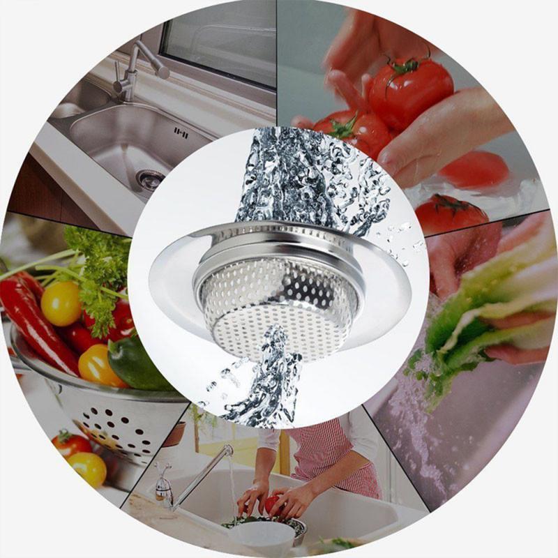 Kitchen Sink Strainer Drain Hole Filter Trap Sink Strainer Stainless Steel Bath Sink Drain Waste Screen