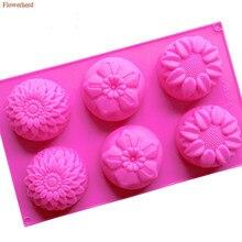 Silicone Mold Baking-Tool Flowers Birthday-Decoration Fondant Handmade 6-Cavities DIY