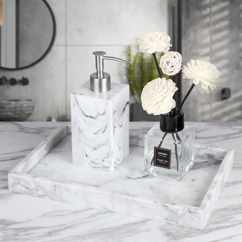 Nordic Style Bathroom Cabinet Decoration Marble Pattern Tray Hand Sanitizer Bottle Split Bottle Aromatherapy Decoration