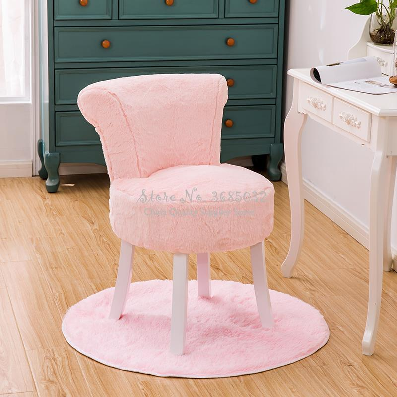 Creative Pink Cashmere Dressing Chairs Stylish Stool Backrest Ottoman Stylish Quality Comfortable PU Sofa Fashion Living Room
