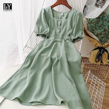 LY VAREY LIN New Summer Elegant Square Collar Chiffon Slim Dress Solid A-line Puff Sleeve High Waist Single Breasted Women Dress 1
