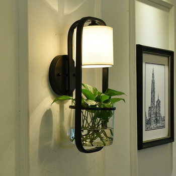 Modern American Glass Wall Lamp Iron Garden Bedroom Living Room Dining Hall Corridor Bedside E14 Plant Wall Lamp LB010911