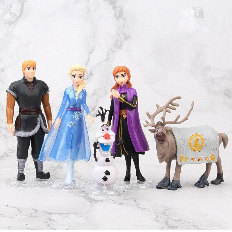 Disney Frozen Anime Princess Pvc Action Figure Princess Elsa Anna Kristoff Sven Olaf Model Toy For Kids Birthday Gift Cake Decor