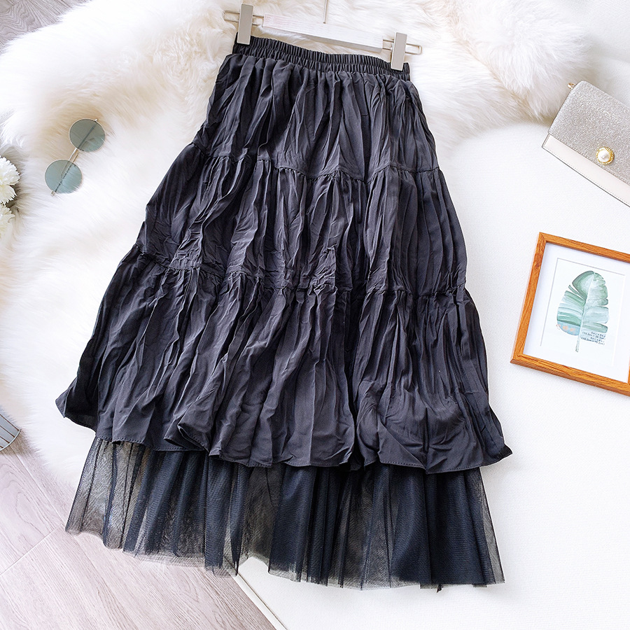 LANMREM 2020 NEW Spring And Summer A-line Double Multi-layer Mesh Halfbody Skirt Wholesales Pleated High Waist Two Pieces WL2050