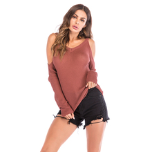 Fashion Sexy Close-Up Off-The-Shoulder WomenS Autumn And Winter Casual O-Neck Long-Sleeved Shirt M L XL 5822