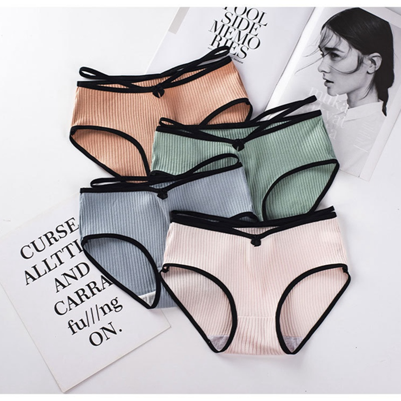 high-end Japanese girls cotton underwear solid color waist triangle briefs for women underpants ladies   panties   wholesale