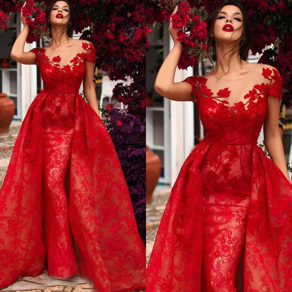 SuperKimJo Red Lace Applique   Evening     Dresses   Long Detachable Skirt Elegant Short Sleeve   Evening   Gown Vestido De Festa De Longo