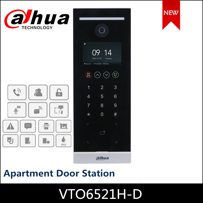 2020 nuevo Dahua 4,3 pulgadas, para Departamento, estación de Puerta 2MP IP Video intercomunicadores VTO6521H-D botón táctil soporte SIP P2P incorporado altavoz