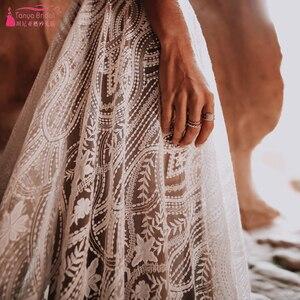Image 5 - Dark Nude Lining Lace Wedding Dresses Modern Plunge V Neck Romantic Bridal Gowns Chic Vestido De Noivas ZW243