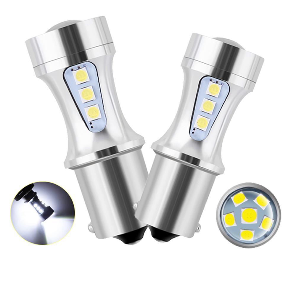 2x P21W светодиодный BAY15D PY21W BA15S белый 1300Lm Автомобильный светодиодный лампы P21/5 W сигнал поворота 1156 3030 6000K T20 W16W T15 W21/5 Вт 7443 W21W 7440