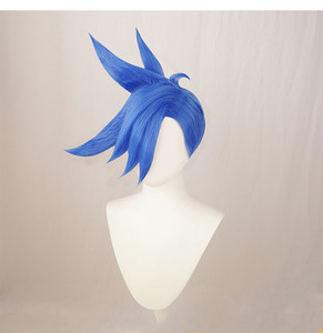 Movie PROMARE Burning Rescue Galo Thymos Cosplay Wig Short Blue Heat Resistant Hair Wig ( Need Styled With Yourself) + Wig Cap(China)