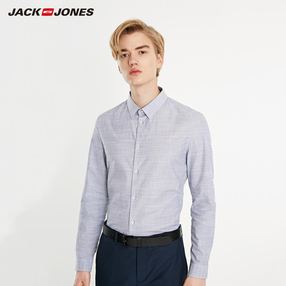 JackJones Men's 100% Cotton Plaid Straight Fit Turn-down Collar Long-sleeved Shirt Basic| 219105568