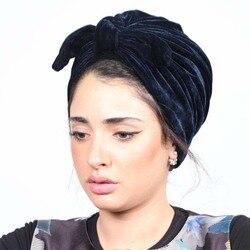 2020 Mode Boog Fluwelen Vrouwen Hoofd Sjaal Tulband Klaar Te Dragen Innerlijke Hijaabs Femme Musulman Hijab Caps India Wrap Turbante mujer
