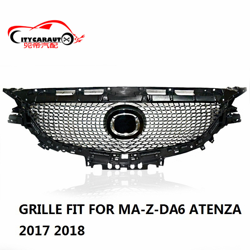 CITYCARAUTO FOR ATENZA FRONT RACING GRILL GRILLS DIAMOND GRILLE FIT FOR MAZDA 6 ATENZA 2017 2018 WITH FREE SHIPPING fit grill mazda atenza grille grill mazda 6 - title=