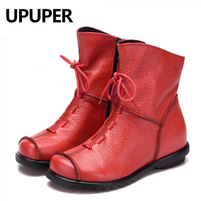UPUPER hakiki deri kadın ayakkabısı el yapımı Moccasins ayakkabı kadın patik yüksek kaliteli kış ayakkabı sıcak deri yarım çizmeler