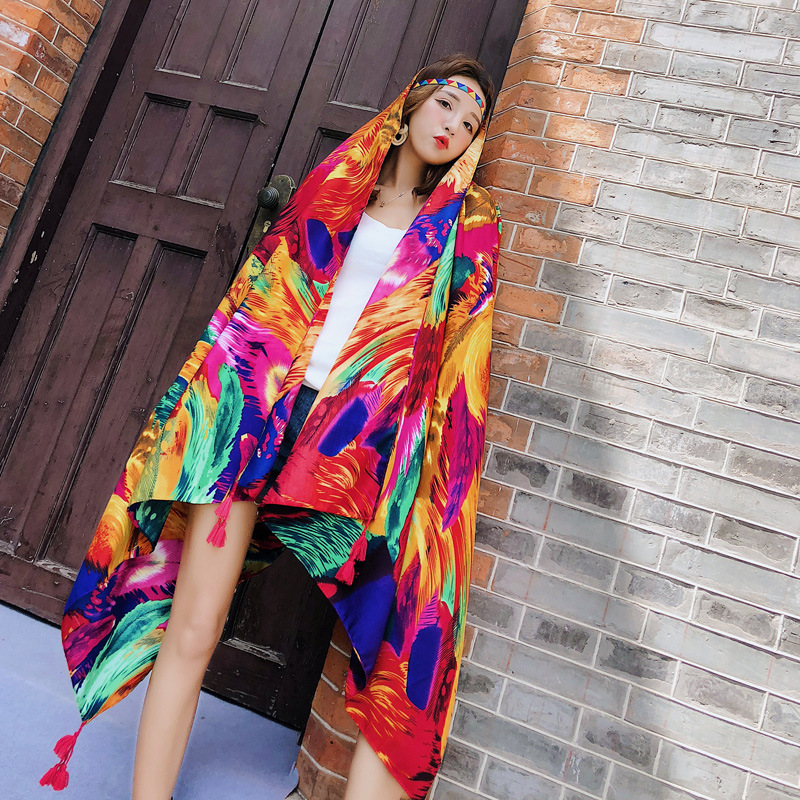 2019 Feather Women Scarf New Summer Spring Girls Color Shawl Beach Blanket Scarf Poncho Hijab Luxury Scarver Ponchos and Capes in Women 39 s Scarves from Apparel Accessories