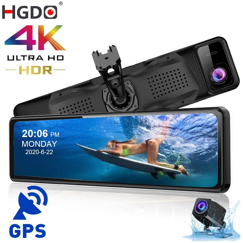 """Hgdo 4k dvr carro 12 """"gps sony imx415 espelho retrovisor câmera 1080p câmera traseira traço cam câmera do carro gravador de vídeo registrador montagem"""