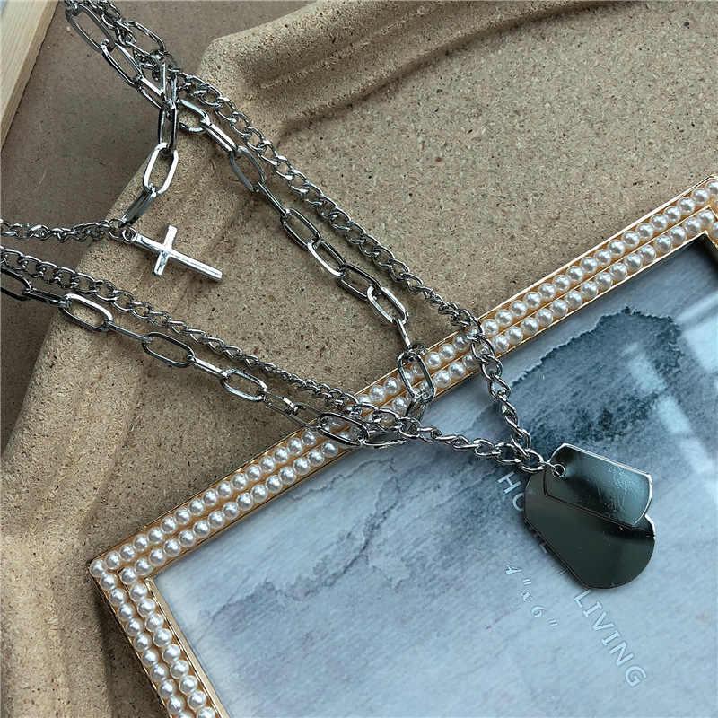 Conjuntos de multicamadas punk prata correntes cruz colar casal moda rua hip hop geométrico metal pingente colares para mulher