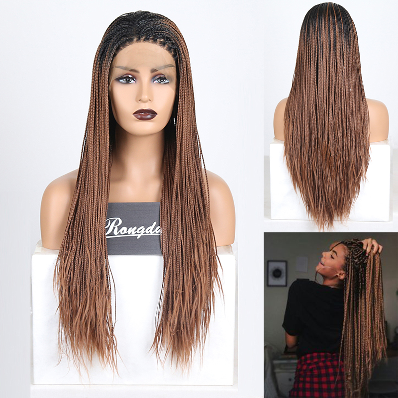 RONGDUOYI Ombre Brown Braided Box Braids Wigs For Women Long Heat Resistant Hair Synthetic Lace Front Wig Middle Part Lace Wigs