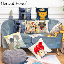 Cartoon Cat Printed Linen Cotton Cushion Cover Animal Pattern Throw Pillow Cover For Bed/Sofa Home Decor Square Pillowcase
