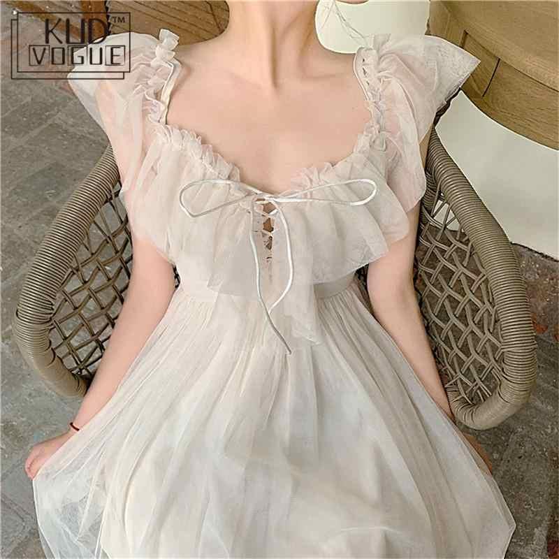 Puffy Fee Sommer Kleid V Neck Off Schulter Spitze Strap Kleid Prinzessin Midi Ballkleid Koreanische Weiß Party Kleid Frauen strand Tragen