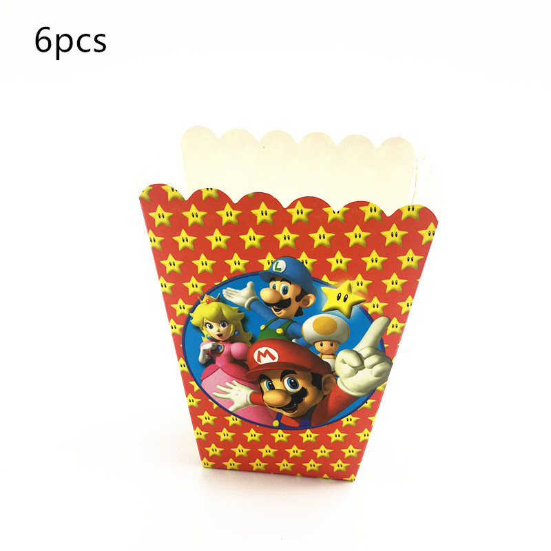 6pcs Pop Corn Box Super Mario Theme Candy Box Loot Bag Boy Birthday Party Decorations Kids Favor Mario Party Tableware Supplies