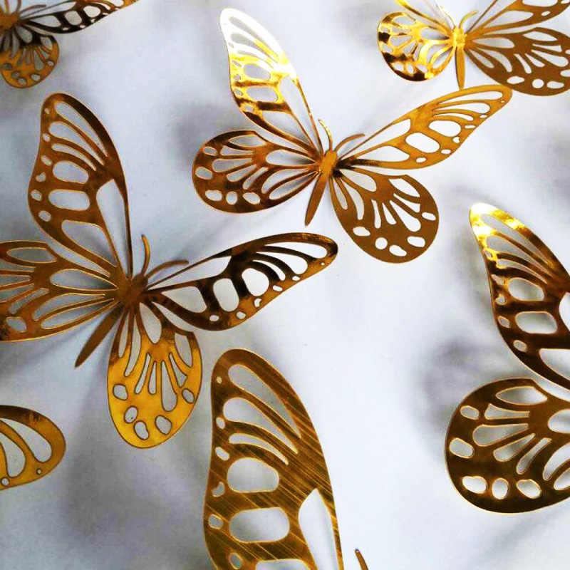 12 ชิ้น/เซ็ต Gold Silver Hollow Butterfly สติ๊กเกอร์ติดผนัง 3D ผีเสื้อห้องนอนห้องนั่งเล่นสติ๊กเกอร์ตกแต่งบ้านงานแต่งงาน Decor
