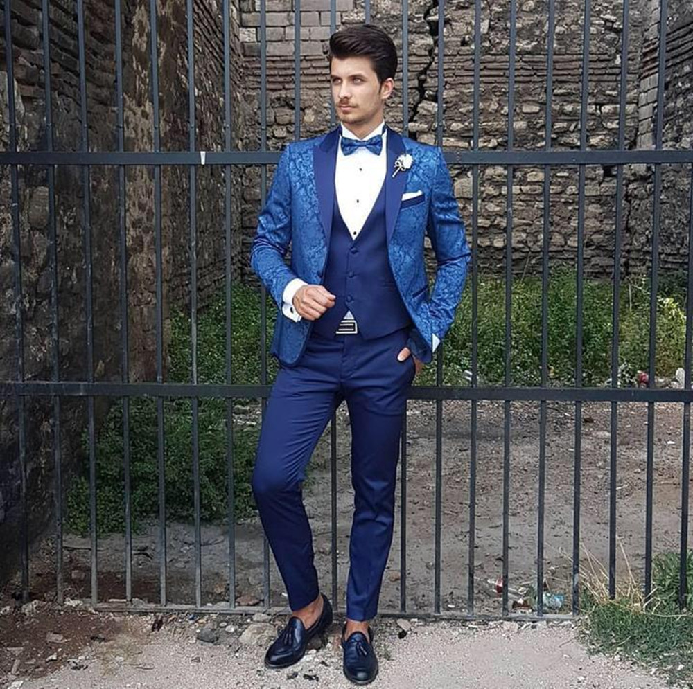 Custom Made Men's Suit 2020 Wedding Tuxedos Formal Printing Best Man Suits Groom Wear Tuxedos 3 Pieces Suits (Jacket+Pants+vest)