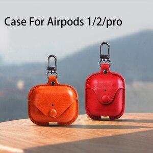 Image 1 - Funda blanda de lujo para Apple Airpods, Funda de cuero de lujo para AirPods 2 pro Earphone 3, funda negra con gancho para llavero