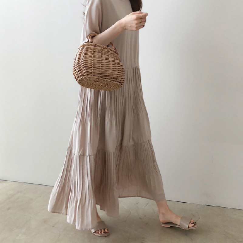 Women Summer Round Collar Cascading Ruffle Loose Straight Long Dress Cotton Linen Short Sleeve Midi Sundress Solid Color