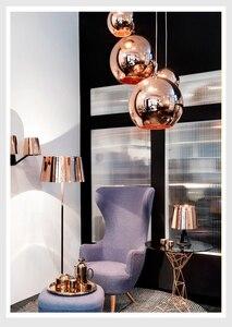 Image 3 - Zaktualizowane szkło lustrzane wiszące lampa w kształcie kuli miedziane złote srebrne Loft kuchnia wyspa stół wisząca lampa szklana kula zawieszenie