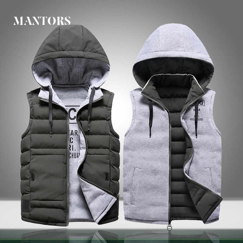 Winter Men Vest Coats Warm 2019 Brand Mens Casual Sleeveless Vest Outerwear Jacket Male Thick Solid Hooded Waistcoat Both Sides