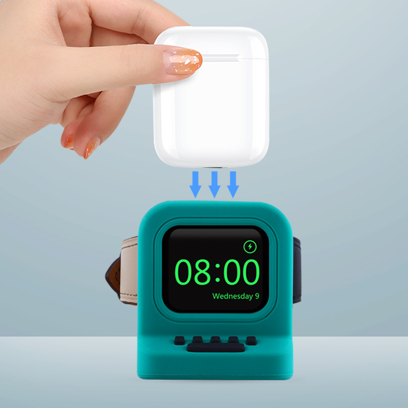 Charger Stand Mount Silicone Dock Holder For Apple Watch Series 4/3/2/1 44mm/42mm/40mm/38m Charge Cable Headset stand Two In one